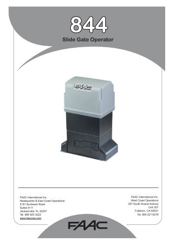 844 Slide Gate Operator - FAAC USA