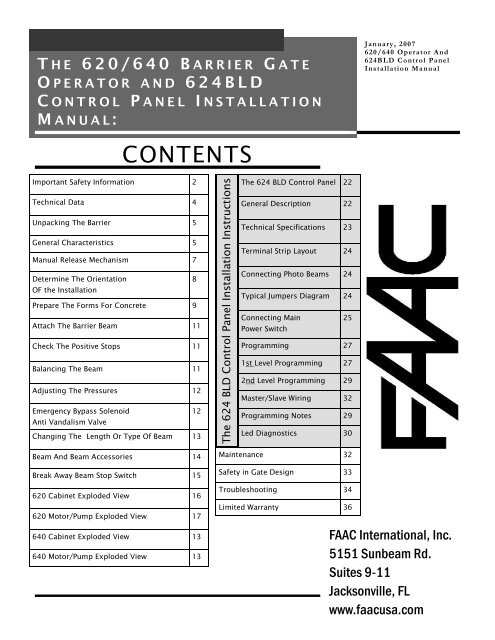 620-640 With 625BLD Install Manual.pub - FAAC USA on