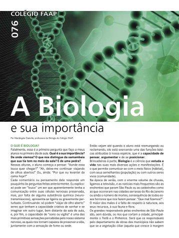 A Biologia e a sua importância - Faap
