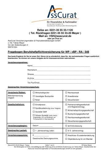 Auftrag zur Marktanalyse VSH Angebot Berufshaftpflicht 2010.11.03