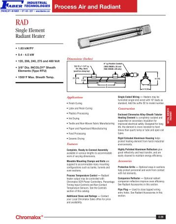 RAD Single Element Radiant Heater - Faber Industrial Technologies