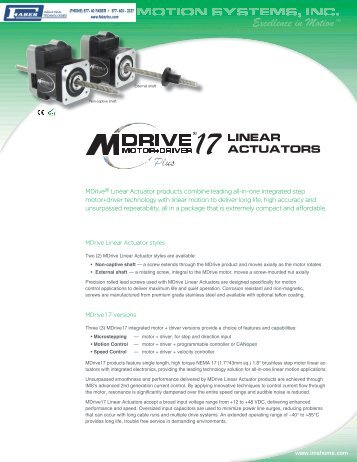 IMS MDrivePlus Linear Actuator - Faber Industrial Technologies