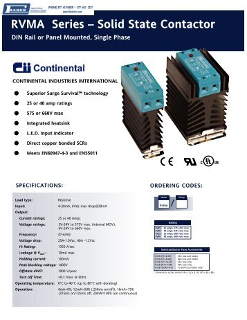 Continental RVMA Series - Faber Industrial Technologies
