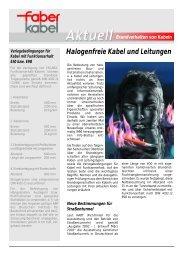 Halogenfreie Kabel und Leitungen Brandverhalten von Kabeln - Faber