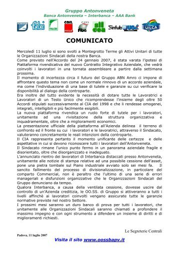 Comunicato Unitario GRUPPO BANCA MPS Ipotesi di ... - Fabi