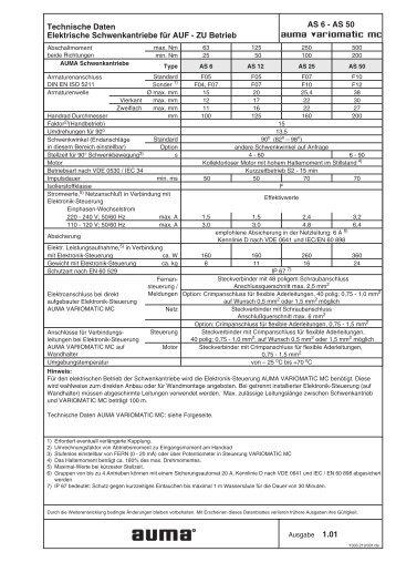 Schwenkantriebe AS 6 - AS 50 für Steuerbetrieb mit ...