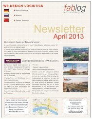 NEWSLETTER April 2013 - Fablog Consulting GmbH