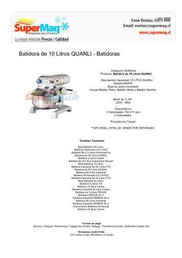 Batidora de 10 Litros QUANLI - Batidoras - Fabricadora de Hielo