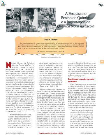A pesquisa no ensino de Química e a importância da ... - QNEsc