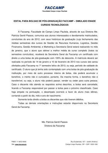 EDITAL PARA BOLSAS DE PÓS-GRADUAÇÃO FACCAMP ...
