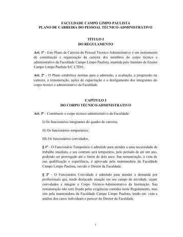 FACULDADE CAMPO LIMPO PAULISTA PLANO DE ... - Faccamp