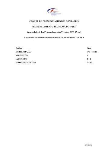 CPC 43 (R1) - Comitê de Pronunciamentos Contábeis