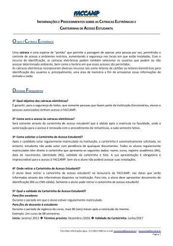 Informações e procedimentos sobre as Catracas ... - Faccamp