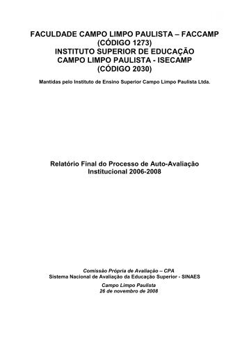Relatório final do processo de auto-avaliação ... - Faccamp