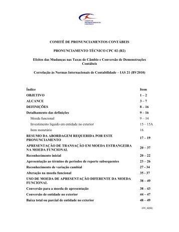 CPC 02 - MINUTA M1 - Comitê de Pronunciamentos Contábeis