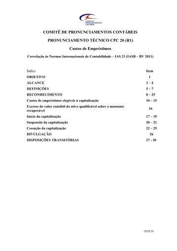 CPC 20 (R1) - Comitê de Pronunciamentos Contábeis