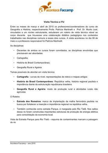 Visita Técnica: Cidade de Itú - Faccamp