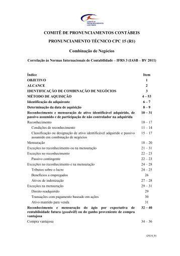 CPC 15 (R1) - Comitê de Pronunciamentos Contábeis