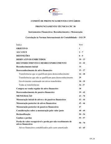 CPC 38 - Comitê de Pronunciamentos Contábeis