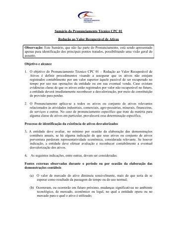 Sumário - Comitê de Pronunciamentos Contábeis