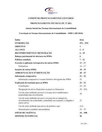 CPC 37 (R1) - Comitê de Pronunciamentos Contábeis