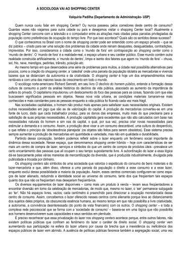 A SOCIOLOGIA VAI AO SHOPPING CENTER Valquíria ... - Faccamp