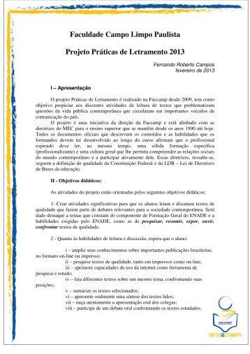 Faculdade Campo Limpo Paulista Projeto Práticas de ... - Faccamp