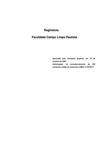 Regimento Faculdade Campo Limpo Paulista - Faccamp