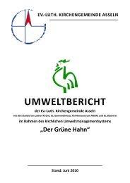 Luth. Kirchengemeinde Asseln umweltbericht der Ev.