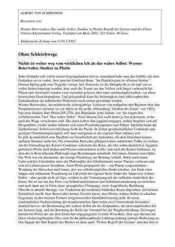 Albert von Schirnding rezensiert Werner Beierwaltes