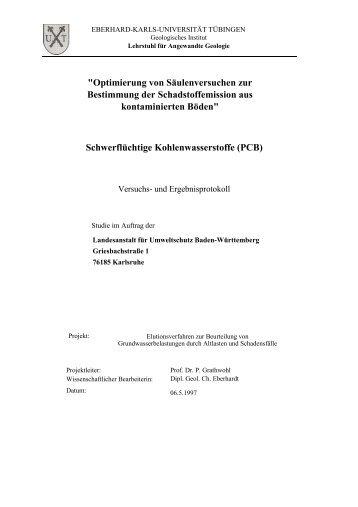 Optimierung von Säulenversuchen zur Bestimmung - Baden ...