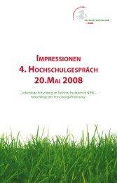 4. hochschulgespräch | 20.mai 2008 - Fachhochschulen in NRW