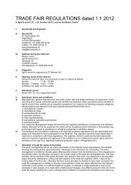 TRADE FAIR REGULATIONS dated 1.1.2012