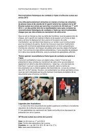 Communiqué de presse 2 / 16 janvier 2012 Reconstitutions ...