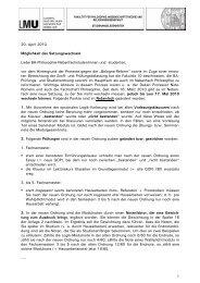 Infoblatt Studienordnungswechsel - Bachelor Nebenfach