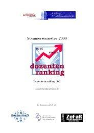 Dozentenranking: Sommersemester 2008 - bei der Fachschaft WiWi!