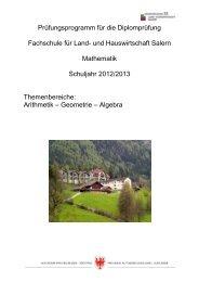 Mathematik - Fachschule für Land- und Hauswirtschaft Salern