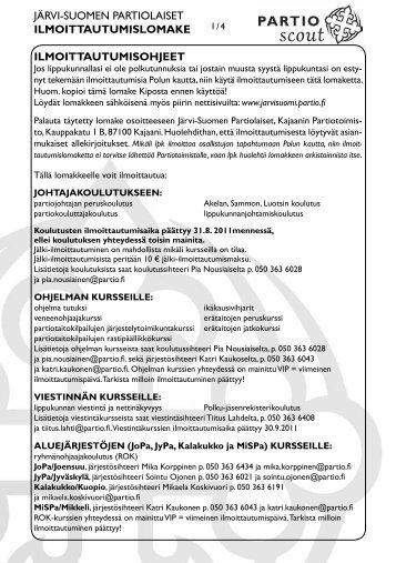 järvi-suomen partiolaiset ilmoittautumislomake ilmoittautumisohjeet