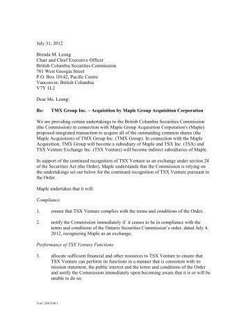 Format of letter of undertaking for issue of demand letter of undertaking maple group british columbia securities thecheapjerseys Image collections