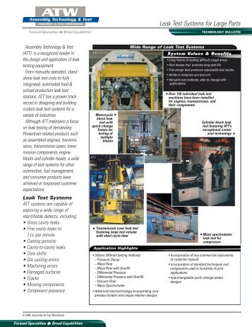 Leak Test Systems for Large Parts - Assembly-Testww.com