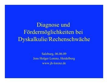 Diagnose und Fördermöglichkeiten bei Dyskalkulie/Rechenschwäche