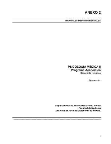 PSICOLOGIA MÉDICA II Programa Académico - Facultad de ...