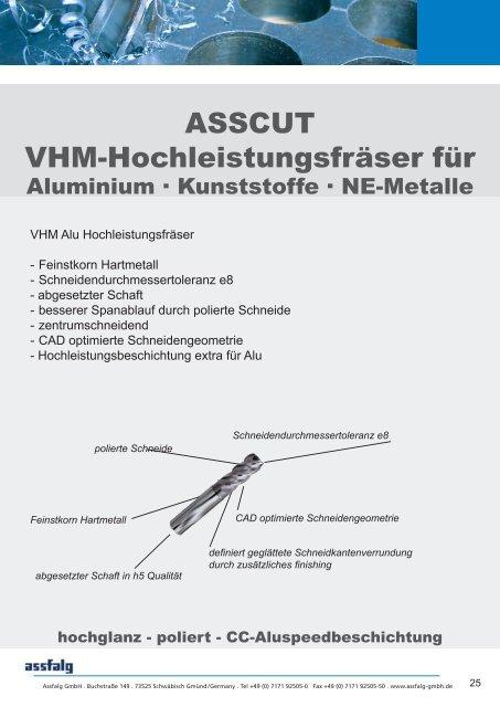 Datenblatt Alu Kunststoff Frasprogramm Assfalg Gmbh