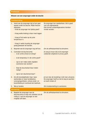 Protocol: wassen van een zorgvrager onder de douche - Factor-E