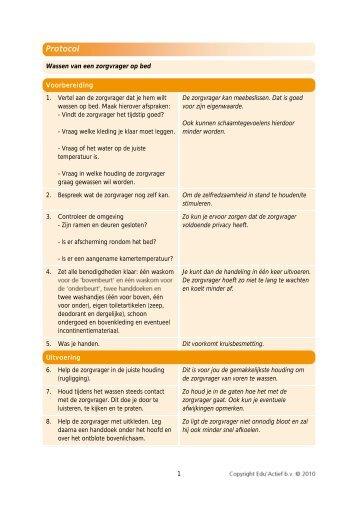 Protocol: wassen van een zorgvrager op bed - Factor-E