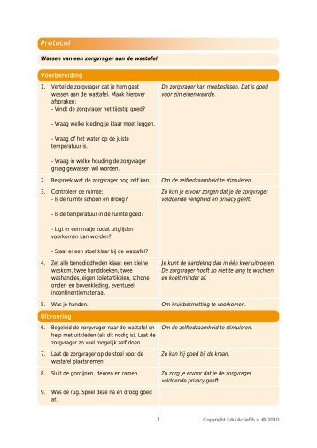 Protocol: wassen van een zorgvrager aan de wastafel - Factor-E