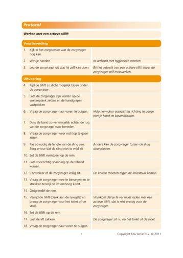Protocol: werken met een actieve tillift - Factor-E