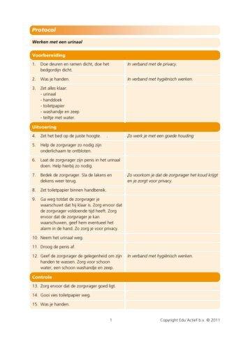 Protocol: werken met een urinaal - Factor-E