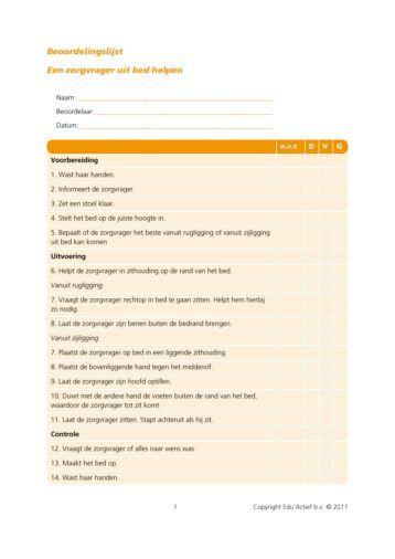 Beoordelingsformulier: een zorgvrager uit bed helpen - Factor-E