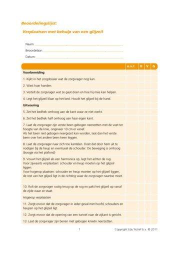 Beoordelingsformulier: verplaatsen met behulp van een ... - Factor-E